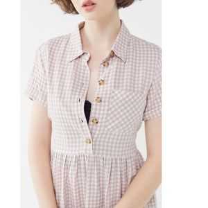 UO Gingham Button Up Midi Dress